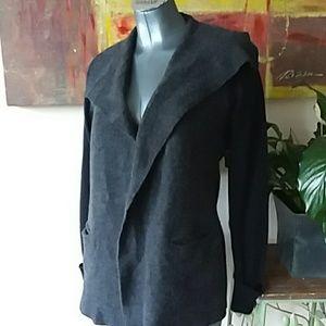 TAHARI wool open sweater coat grey black medium